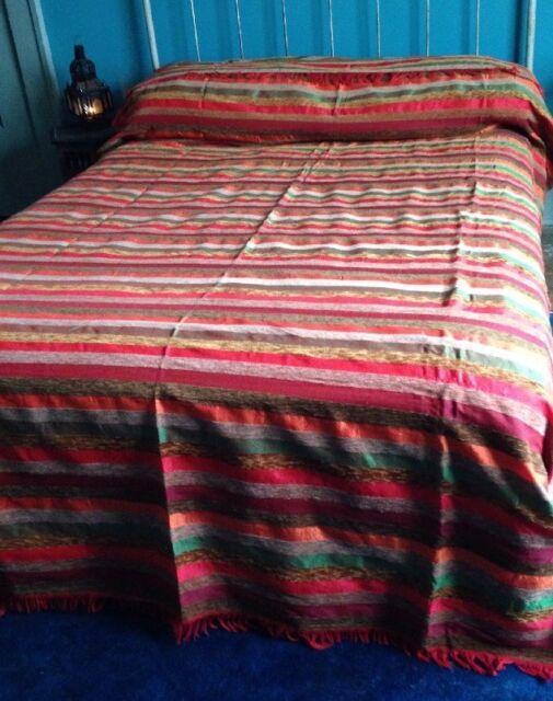 "Moroccan Hand Woven Striped Sabra Silk Throw Blanket /""tapi/"" Vivid Colors"