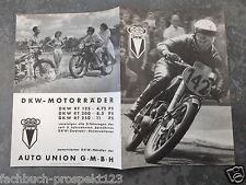 AUTO UNION GMBH WERBEBROSCHÜRE DKW 1951 MOTORRAD OLDTIMER