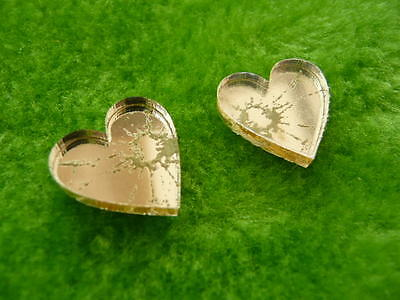 Broken mirror effect acrylic earrings small heart gold, silver and red studs