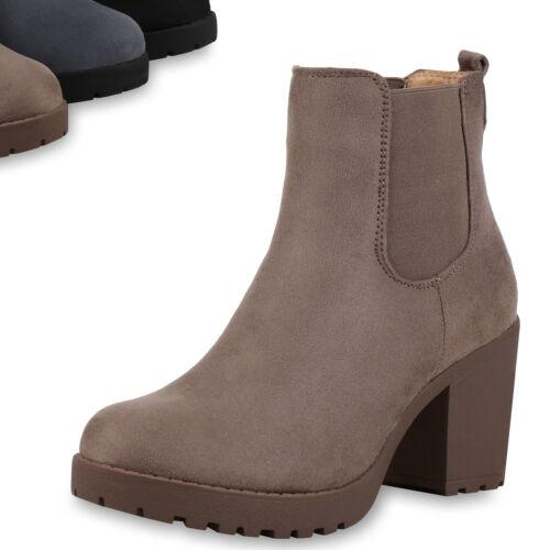 Damen Stiefeletten Warm Gefütterte Chelsea Boots Plateau Schuhe 820354 Top