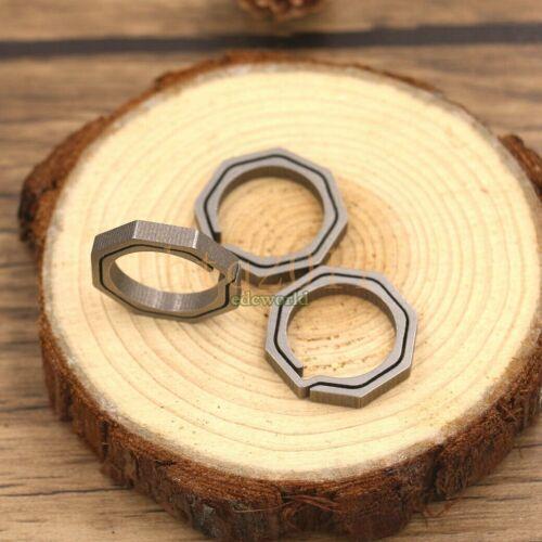 3pcs Titanium Ti Key Chain Concise Octagon Key Ring Outdoor EDC Tool Multi Tools