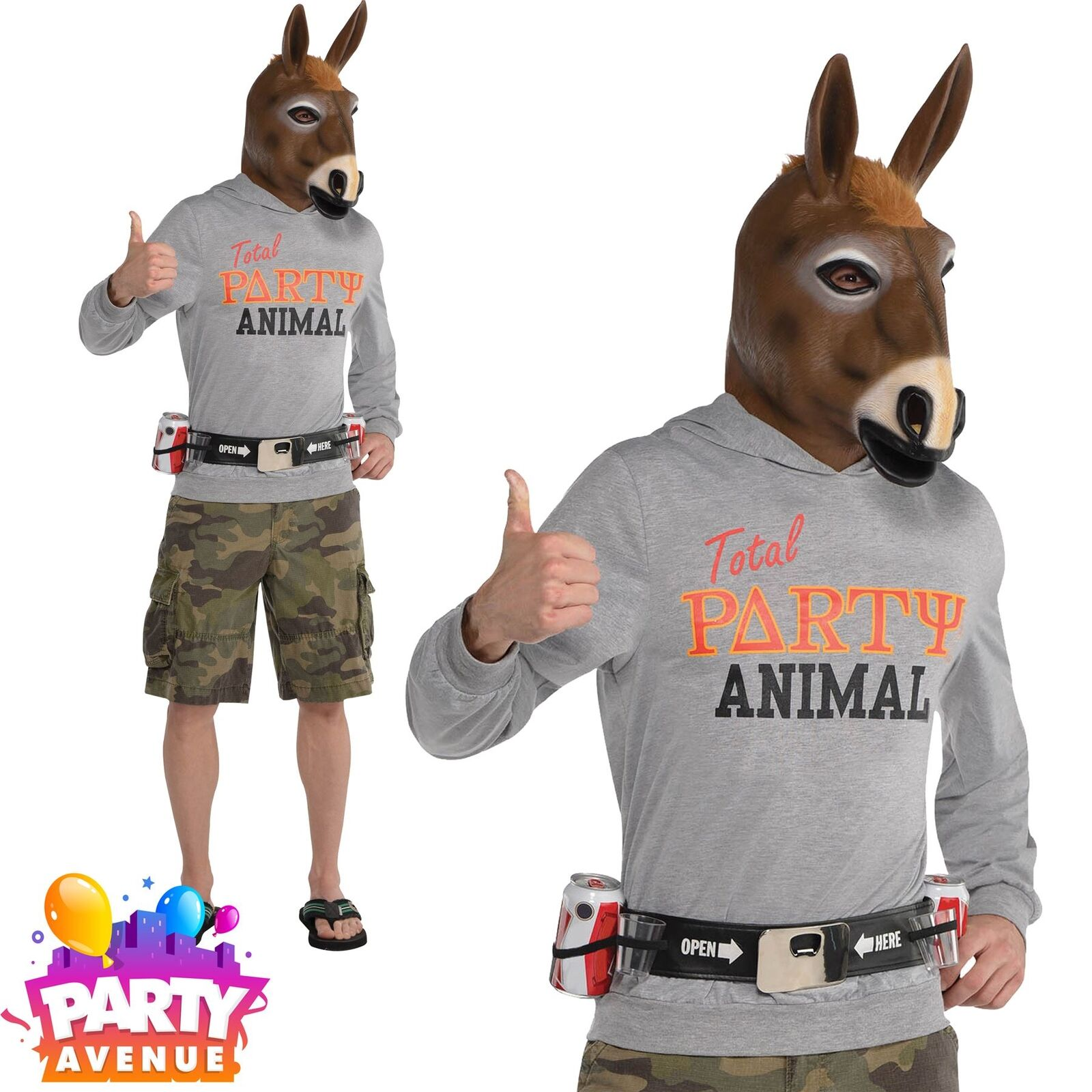 Adult Party Jackass Costume Mens Donkey Party Animal Funny Comedy ...