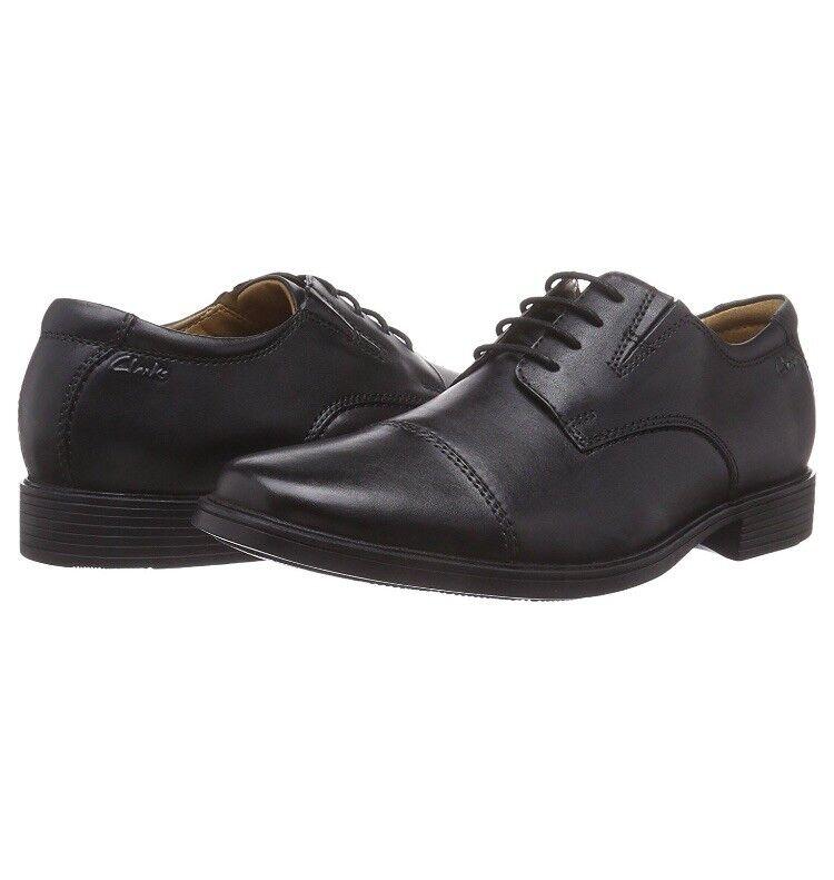 e4471e9c787 ... NEW Clarks Mens Tilden Cap Black Leather Leather Leather Oxfords shoes  size mm 8 M 39e84d