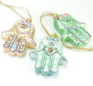 Hamsa-SET-of-3-Glass-Christmas-Ornament-3-5-Inch-Tall-NEW