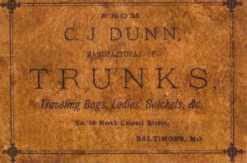 C.J Dunn Marker Label steamer trunk chest sticker decal interior print old