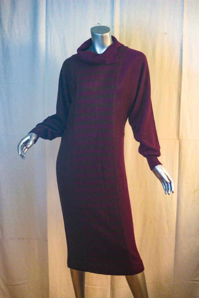 Vintage NINA RICCI 1980's Purple Brown Wool Sweater Dress Size 8