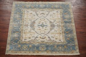 6X6-Square-Oushak-Area-Rug-Hand-Knotted-amp-Veg-Dyed-Wool-Carpet-5-11-x-6-1