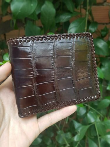 Crocodile Leather Skin Men/'s bifold wallet brown VSSVD31