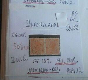 QUEENSLAND-QUEEN-VIC-1d-VERMILLION-RED-F-U-PAIR-STATE-STAMP