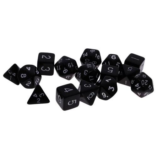 15pcs Gold Number Multisided Dices Set Kids D/&D RPG Game Accs with Bag Black