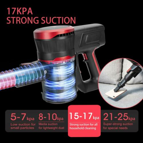 MOOSOO Cordless Vacuum Cleaner 17Kpa Strong Suction 2 in 1 Stick Vacuum UPGRADED