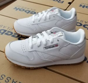 dd6bbe484c7fa Image is loading REEBOK-CLASSIC-LEATHER-KIDS-WHITE-GUM-V69622-PRE-