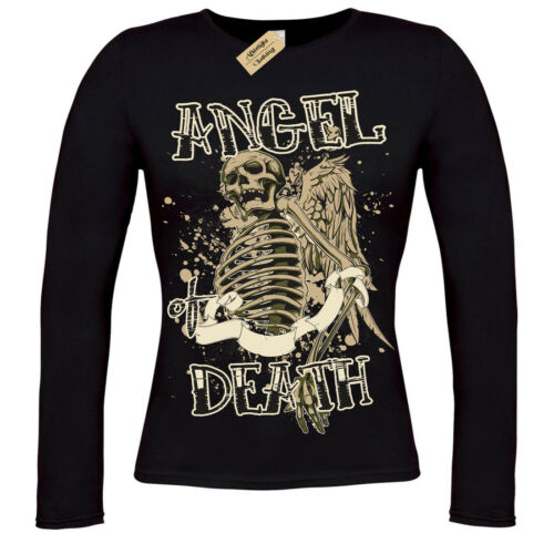 Angel De Mort T-shirt Squelette Gothique Crâne Squelette T-shirt femme manches longues