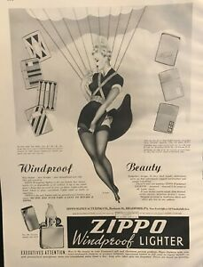 1938-Zippo-Windproof-Lighter-Large-Ad-Parachute-Girl-Beauty-by-John-Lopker
