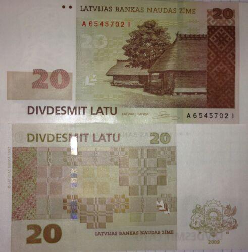 UNC 20 Lati P-55b 20 Lats Uncirculated Banknote of the Bank of Latvia 2009