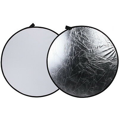 """43"""" 110cm 2-in-1 Light Mulit Collapsible Disc Photography Reflector Silver/White"""