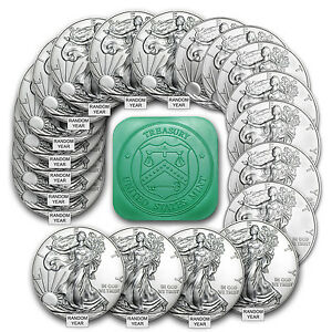 '1 oz Silver American Eagle BU (Lot, Roll, Tube of 20) - (Random Year)' from the web at 'https://i.ebayimg.com/images/g/550AAOSw-KFXfCgq/s-l300.jpg'