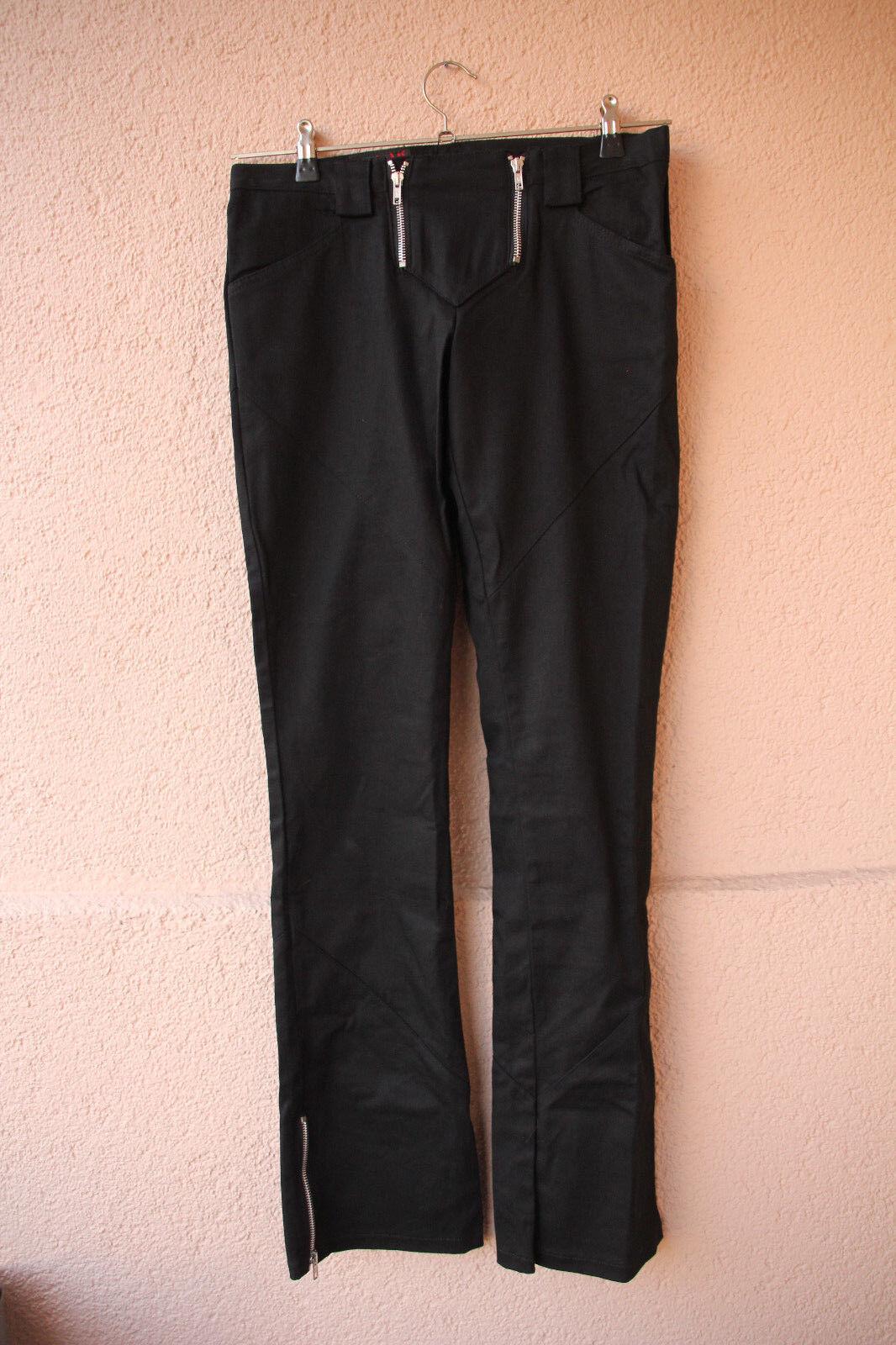 Aderlass-Hose zwei Reißverschlüsse vorn, black, Größe 28 (Gothic Punk)