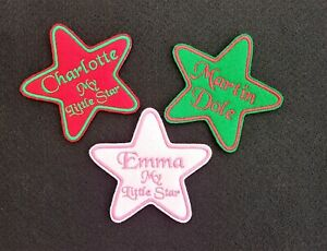 Personalised-Embroidered-Star-Name-Patch-Badge-Iron-on-or-sew