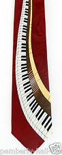 Keyboard Swirl Mens Necktie Piano Music Keys Pianist Musician Gift Red Tie New
