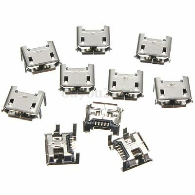 10pcs Micro USB Type B 5 pin Female Socket 4 Vertical Legs For Solder Connectors