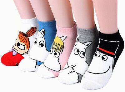 Moomin Valley Moomintroll Novelty Cartoon Ankle Socks Kawaii Harajuku Size 35-40
