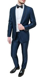 4432606419 Dettagli su Elegante abito uomo Diamond sartoriale blu raso lucido vestito  smoking cerimonia