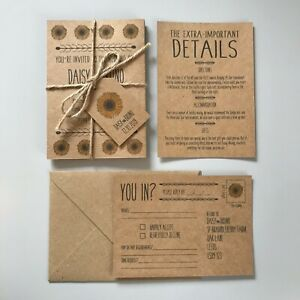 Rustic-Vintage-Burlap-Sunflower-Wedding-Invitation-Brown-Kraft-Card-Day-Evening