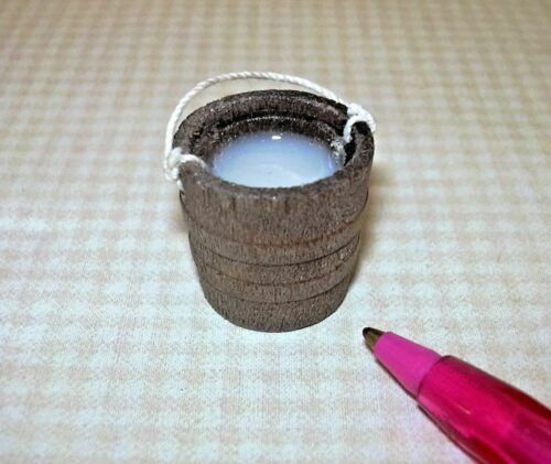 Miniature Wooden Bucket w//Rope Handle DOLLHOUSE 1//12 Filled with Resin MILK