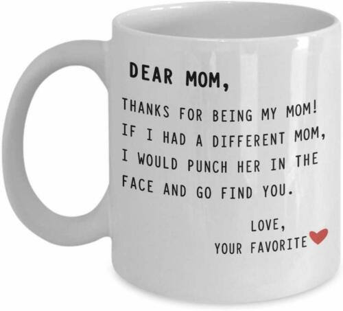 Dear Mom Coffee Mug Cup 11 oz Gift For Mother Love Mommy Punch Face