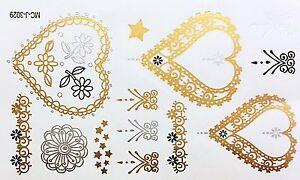 Tatuaggio-Oro-Argento-Nero-Adesivo-Monouso-Flash-Temporaneo-13pezzi-Bracciale