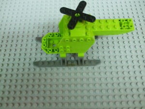 Details about Lego Lime Green Helicopter Body Dark Gray Sled Rails Black  Propeller Blade 10725