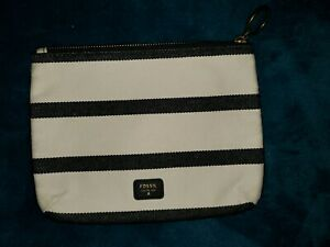Fossil-Issue-Vintage-No-1954-Canvas-Bag-Pouch-Makeup-Bag-Ivory-Denim-coated
