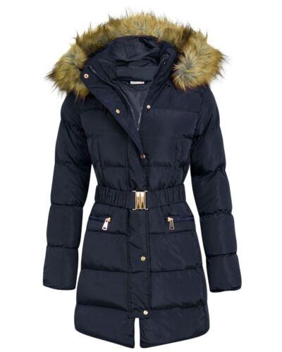 New Womens Parka Coat Jacket Fur Hood Side Ruched Long Polyester Fashion Coat