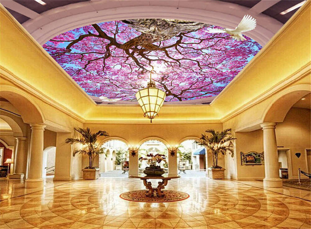 Azure lila Peony 3D Ceiling Mural Full Wall Photo Wallpaper Print Home Decor