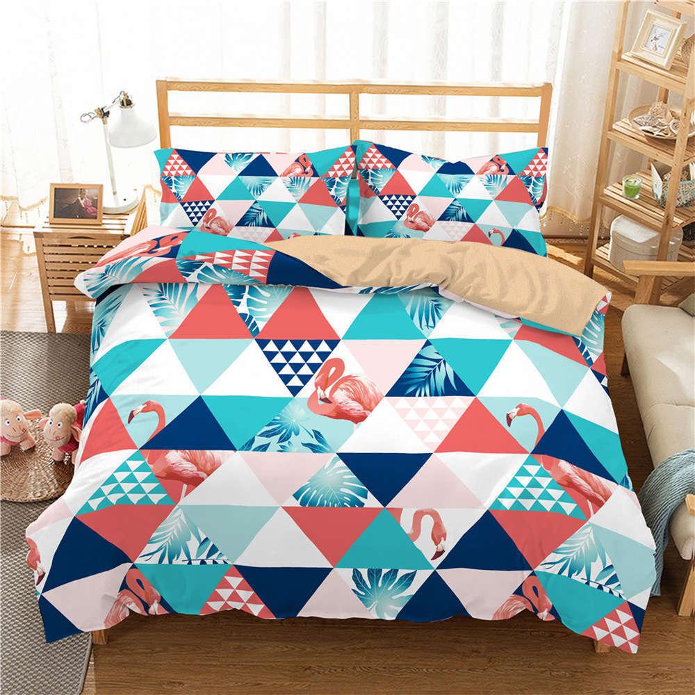Tiangle Various colors 3D Digital Print Bedding Duvet Quilt Cover Pillowcase