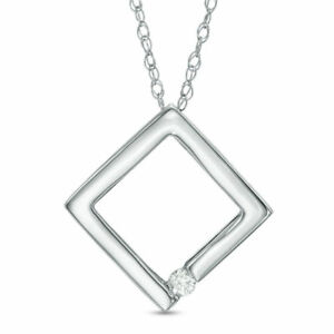 10K-White-Gold-Diamond-Accent-Solitaire-Tilted-Square-Necklace-Pendant
