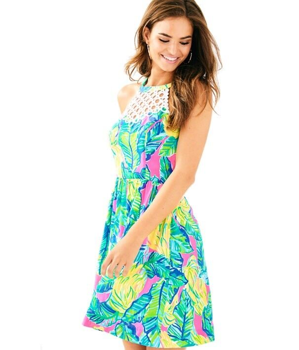 NWT Lilly Pulitzer Kinley Dress Pink Sunset Local Flavor Size 0