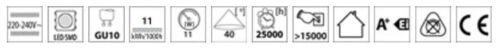 Kanlux 11 W = 66 W AR111 G53 DEL GU10 Kit de Conversion Ampoule Lampe 240 V 40D 865