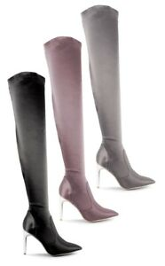 Mujer-senoras-del-muslo-botas-altas-sobre-la-rodilla-Taco-estiramiento-raso-Fiesta-Talla-Zapato