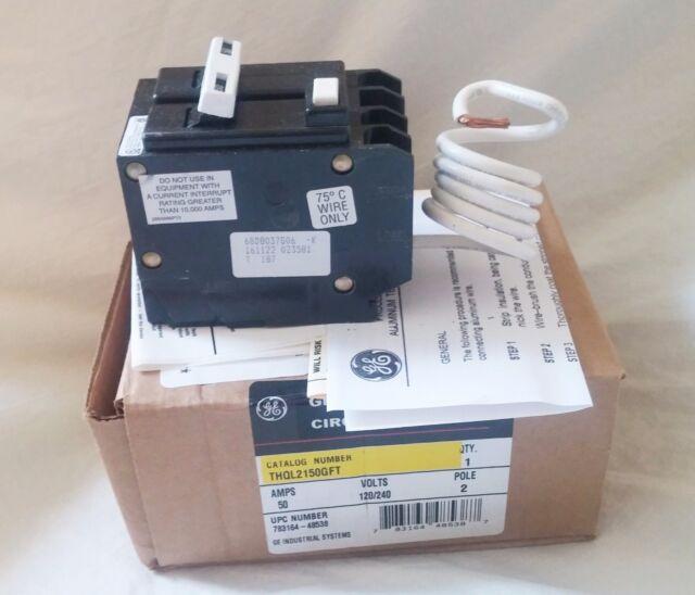 GE 50 AMP 2 POLE CIRCUIT BREAKER THQL2150GFT