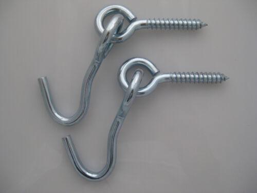 Hammock Hooks 2 pc Eye Screw+Hook ProSource Zinc-Plated Stainless Steel//1 pair
