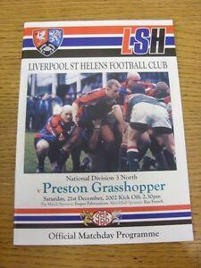 21-12-2002-Rugby-Union-Programme-Liverpool-St-Helens-v-Preston-Grasshopper-Foo