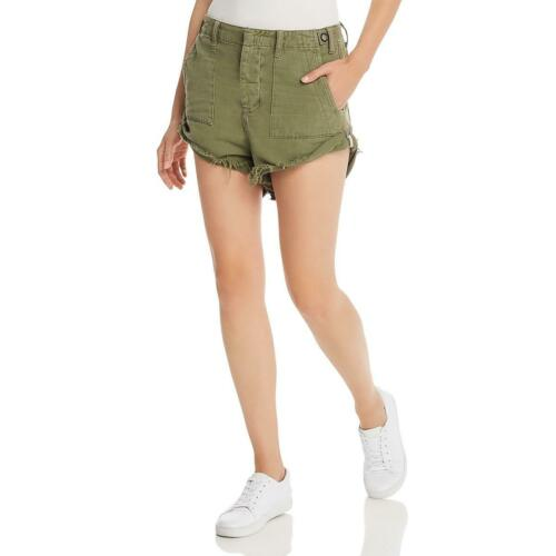 One Teaspoon Womens Green Cuffed Utility High Rise Shorts 26 BHFO 1664