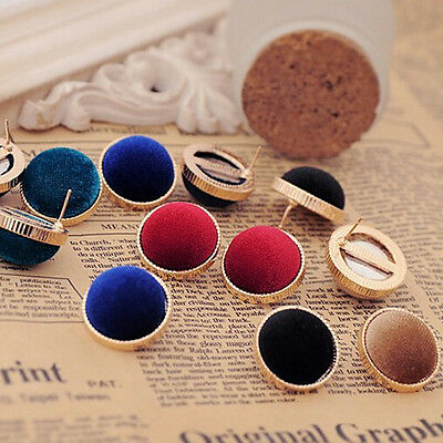 Fashion Women's Round Velvet Gold Plated Charms Lucky Stud Earrings Jewelry Gift