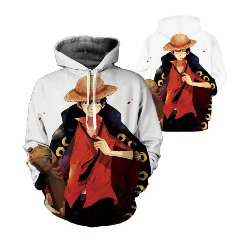 Anime One Piece Luffy Hoodie Cosplay Sweatshirt Unisex Casual Pullover Coat Tops