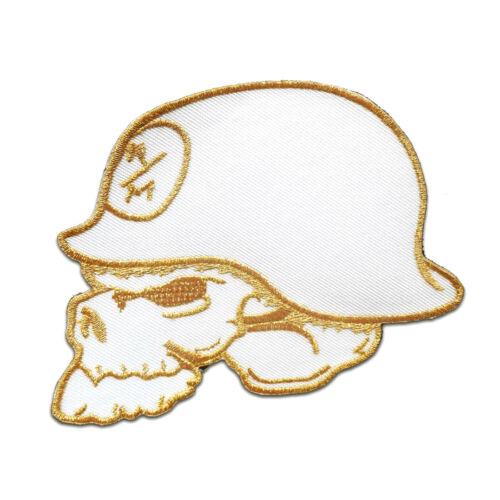 blanco calavera con casco de acero Army 11.2x8.5cm bordados Parches