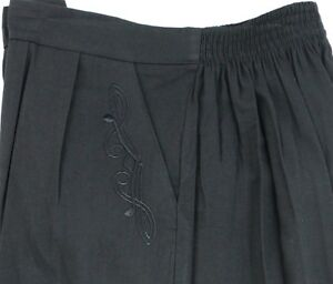 Ladies-12-22-Black-Trouser-Embroidery-Pocket-Detail-Back-Elastic-Waist-Womens