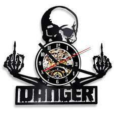 Skull Ornament Vinyl Record Wall Clock 12'' Middle Finger Gothic Decor 3D Clock