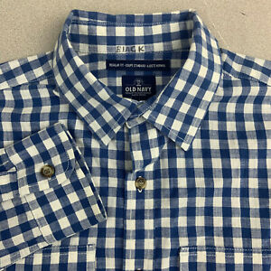 Old-Navy-Button-Up-Shirt-Mens-Large-Blue-Check-Long-Sleeve-Regular-Fit